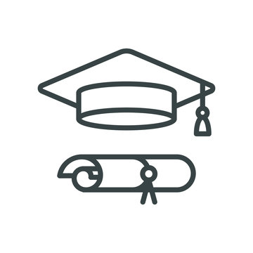 Graduation cap icon. Line art