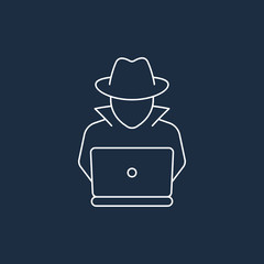 Spy agent searching on laptop. Detective icon