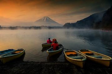 boat at Lake Shoji with mt. Fuisan at dawn