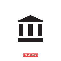 Bank vector icon, architecture symbol. Flat sign illustration for web or mobile app on white background