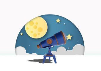 Telescopio con luna y estrellas