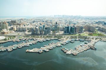 Cityscape view of Deira and Old Dubai area.