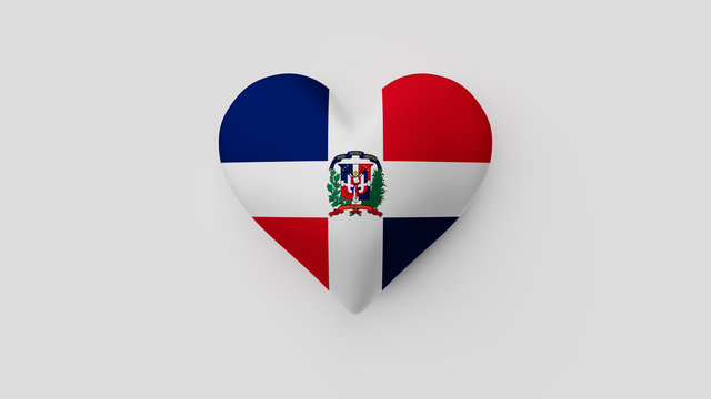 Corazón bandera República Dominicana. 3D