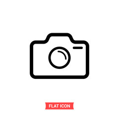 Camera vector icon, photo symbol. Flat sign illustration for web or mobile app on white background