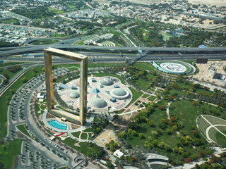Printed roller blinds Dubai Aerial view of Dubai Frame on a sunny day.