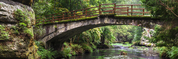 Panoramic view on old bridge in the forest at the rocks