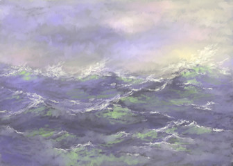 Painting sea landscape. Fine art.