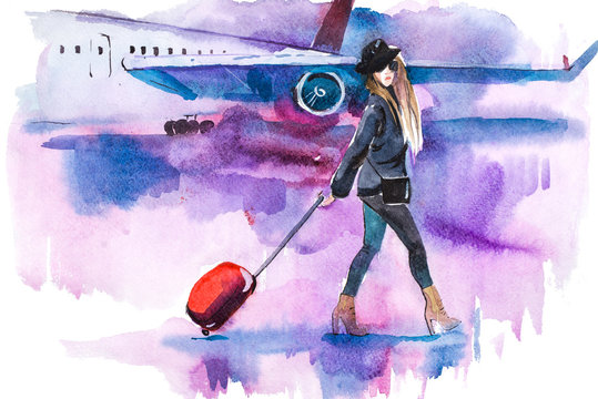 Woman traveler with luggage going to plane. Girl tourist passager walking in to airplane at airport