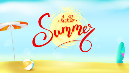 Horizontal summer background with sun umbrella, inflatable ball and surfboard. Handwritten text summer above the symbol of sun in brush grunge style. Sunny beach with sand and blue sky