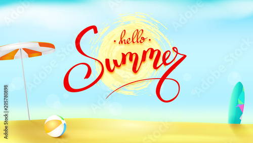 Horizontal Summer Background With Sun Umbrella Inflatable Ball And