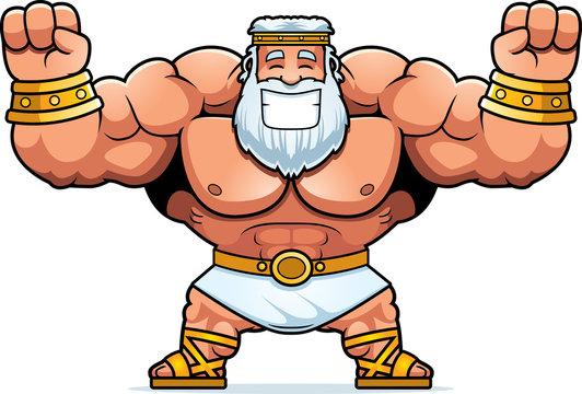 Cartoon Zeus Celebrating