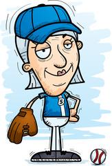 Confident Cartoon Senior Baseball Player
