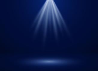 Abstract of spotlight presentation on dark blue gradient background, illustration vector eps10