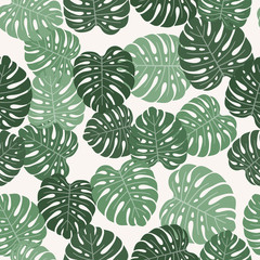 Tropical background with monstera leaves. Seamless floral pattern. Summer vector illustration
