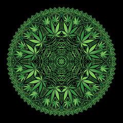 Cannabis Marijiana Intricate Mandala