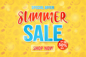 Multicoloured background with hand drawn summer elements for Summer Sale. Vector.