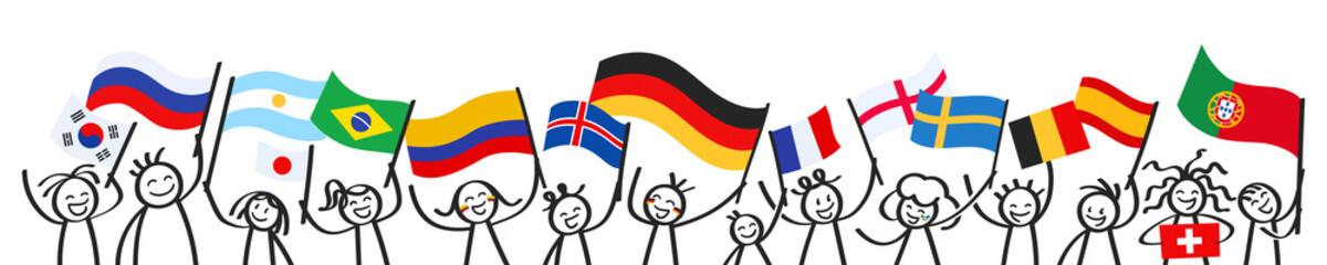 Sport Fans, Menschenmenge, Banner mit Strichfiguren und unterschiedlichen Nationalflaggen