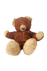 Vintage isolated teddy bear-shabby, worn, still loved.