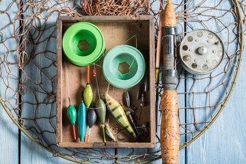 Top view of tackle fishing with floats, rods and hooks