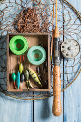 Top view of fishing for equipment with flies and rods