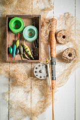 Retro equipment for angler with flies and rods