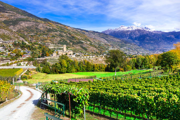 Castles and wineyards of Valle d'Aosta. Castello Reale di Sarre, Italy