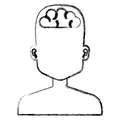 human profile with brain vector illustration design