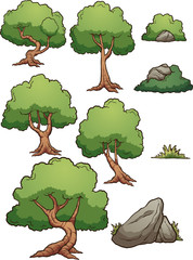Cartoon forest trees, bushes, hedges and rocks. Vector clip art illustration with simple gradients. Each on a separate layer.