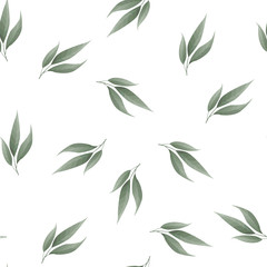 Bay leaf seamless vector pattern. Food background