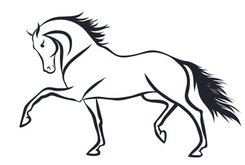 A sketch of a trotting horse.