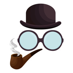 hat with glasses and pipe wooden hipster style vector illustration design