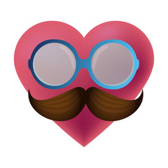 heart with glasses and mustache hipster style vector illustration design