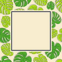 Hand drawn exotic leaves on background with copyspace. Vector.