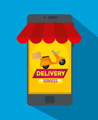 delivery service with smartphone vector illustration design