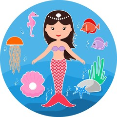 Cute mermaid and marine life.  Cartoon little mermaid. Vector illustration
