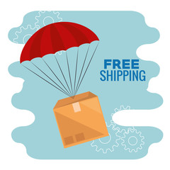 delivery service with box in parachute vector illustration design