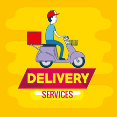delivery service with courier in motorcycle vector illustration design