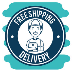 delivery service with courier lifting box vector illustration design