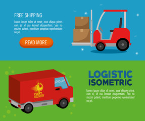 delivery service concept with van vehicle vector illustration design