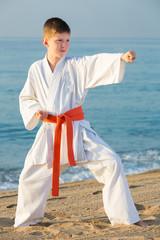 Boy doing karate at ocean quay