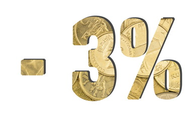 - 3% Percent and Discount. Shiny golden coins textures for designers. White isolate