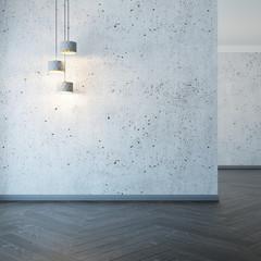 empty room with lights, 3d rendering