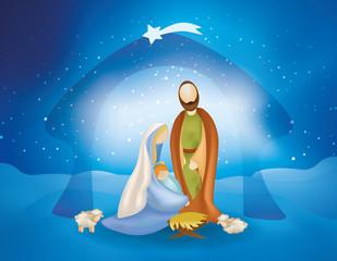 Christmas nativity scene with holy family -Joseph Mary baby Jesus and sheeps