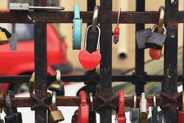 hanging locks on a fence