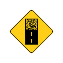 USA traffic road signs.pavement ends ahead. vector illustration