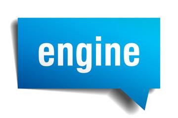 engine blue 3d speech bubble