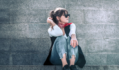 stylish girl with glasses