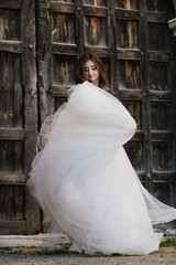 bride in wedding dress, beautiful brunette woman in national park near medieval castle, portret,