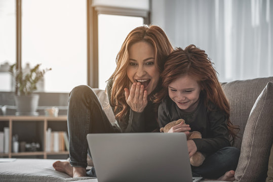 Excited woman is sitting on sofa with her kid holding teddy bear. They are watching something on computer and laughing with delight