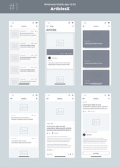 Wireframe kit for mobile phone. Mobile App UI, UX design. New OS Articles. Blog, list and articles screens.